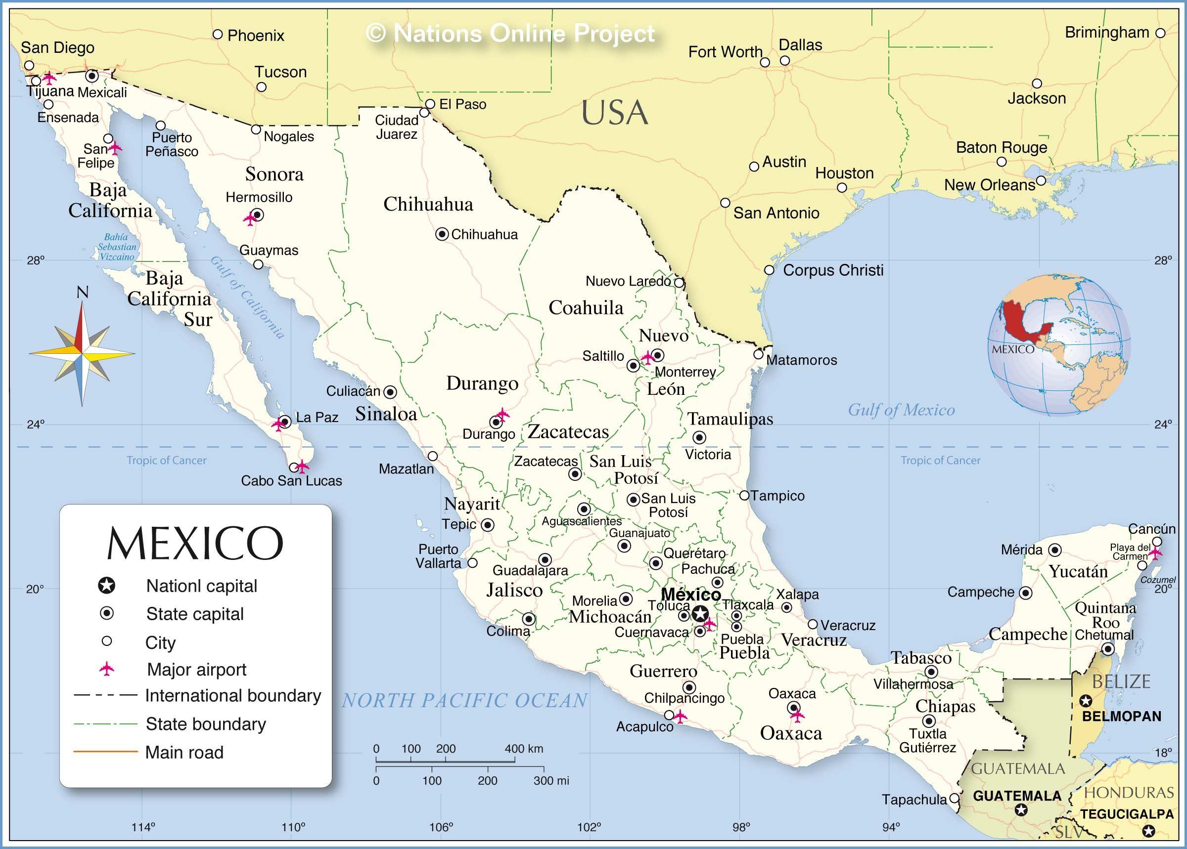 Fronteira méxico mapa - Fronteira de México mapa (América Central ...